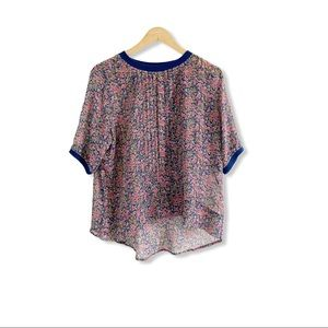 Anthro One Fine Day Blouse Top Floral Silk Size M